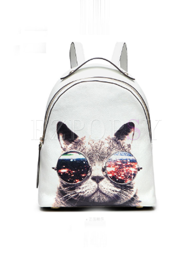 Chic White Cat Print Cowhide Zip-up Backpack