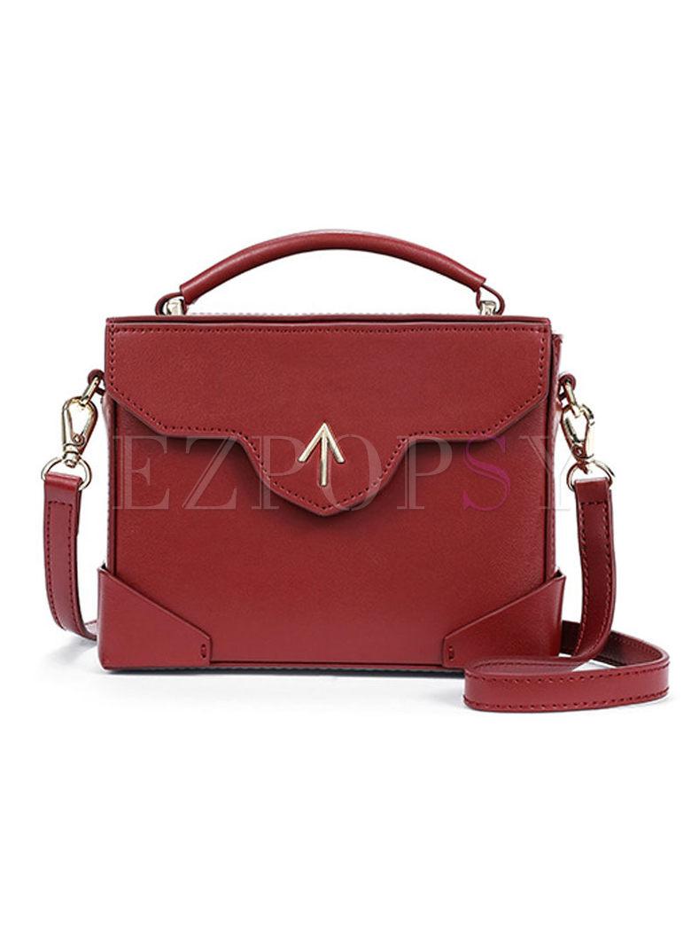 Color-block Cowhide Magnetic Crossbody Bag