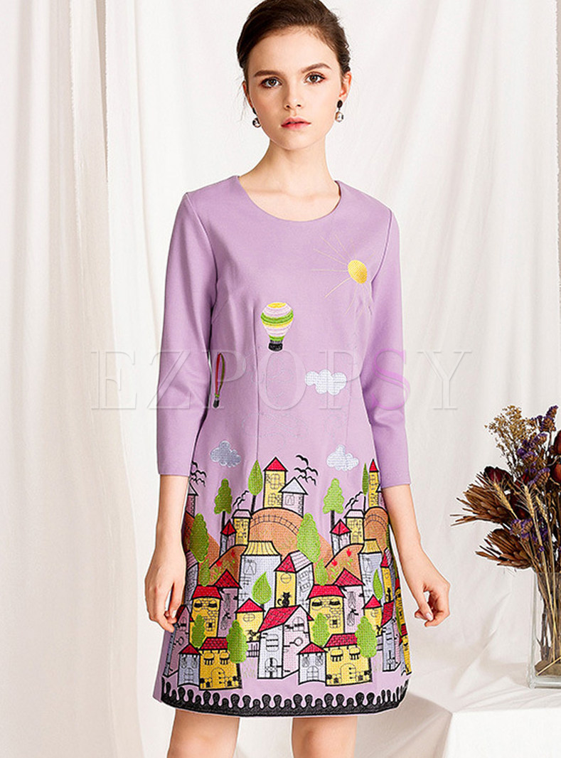 Purple Three Quarters Sleeve Embroidered Slim Dress