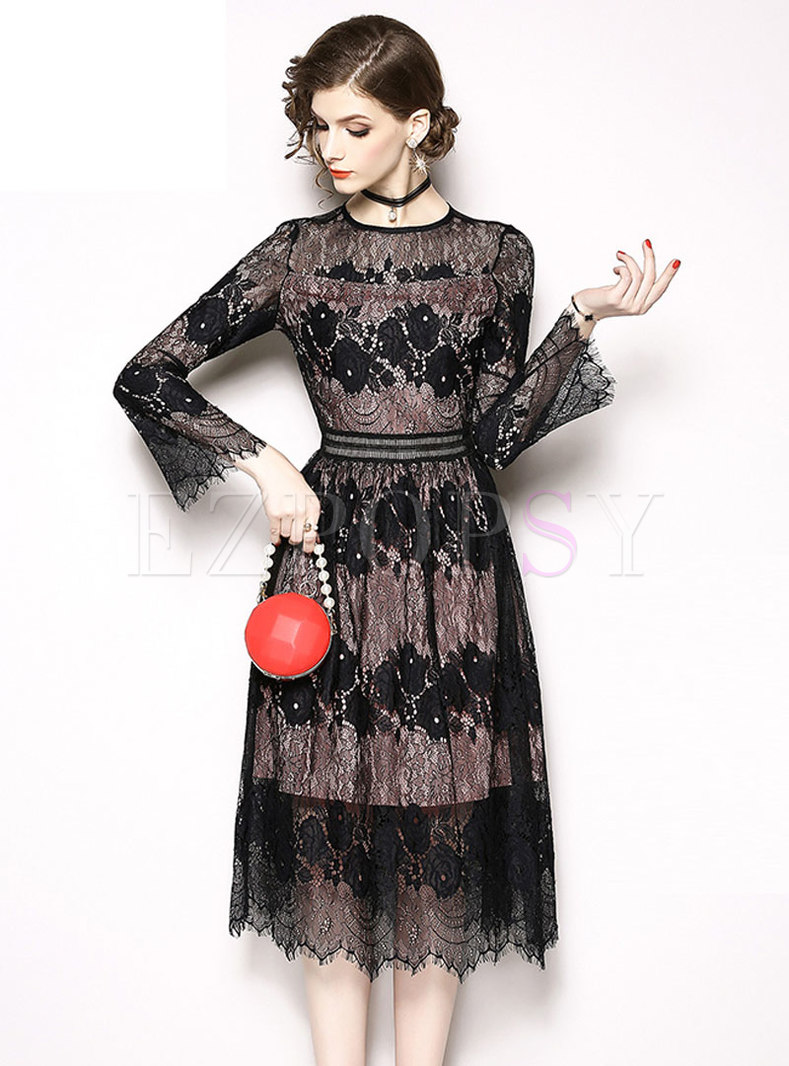 Sexy Black Lace-paneled Hollow Out Embroidered Plus Size Dress
