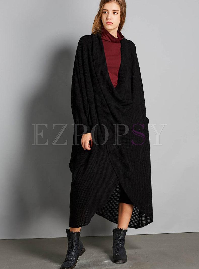 Chic Black Plus Size Deep V-neck Asymmetric Knitted Dress