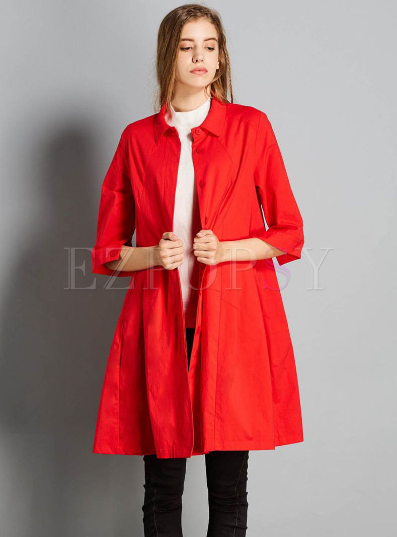 Pure Color Lapel Single-breasted Half Sleeve Trench Coat