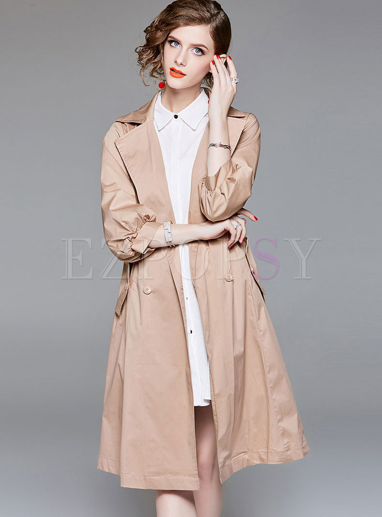 Solid Color Lantern Sleeve Slim Trench Coat