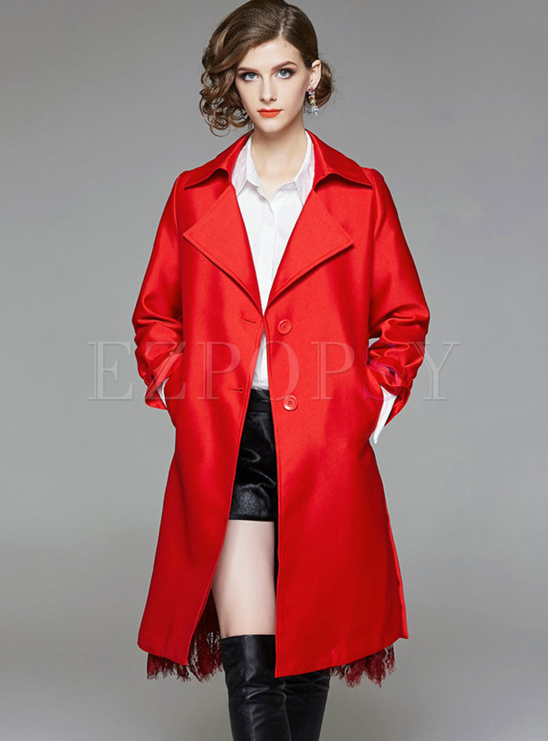 Pure Color Lace Splicing Turn Down Collar Single-breasted Trench Coat