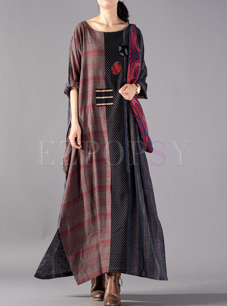 Retro Color-blocked Embroidered Plaid Maxi Dress With Split