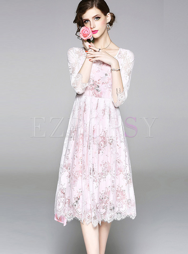Hollow Out Lace Embroidered Dress With Strap