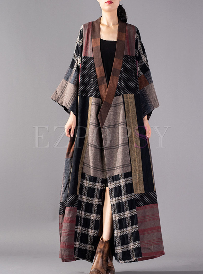 Stylish Vintage Tied Plaid Asymmetric Straight Trench Coat