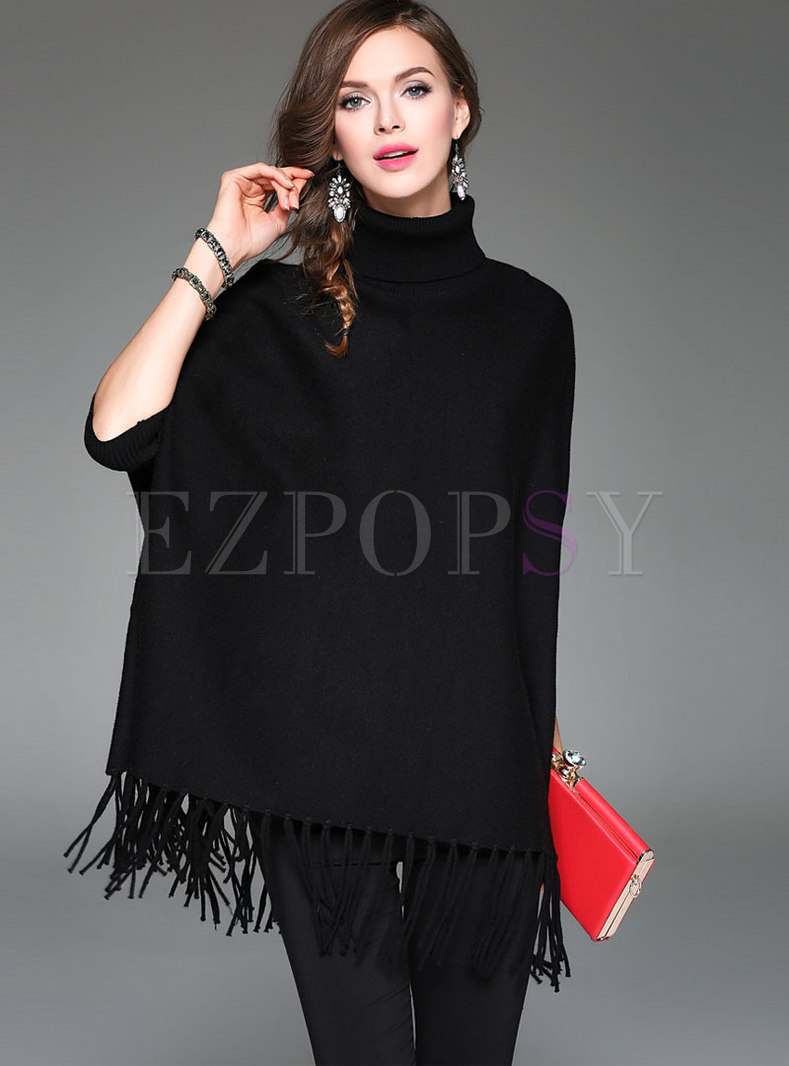 Stylish Black Tassel Hem Batwing Sleeve Sweater