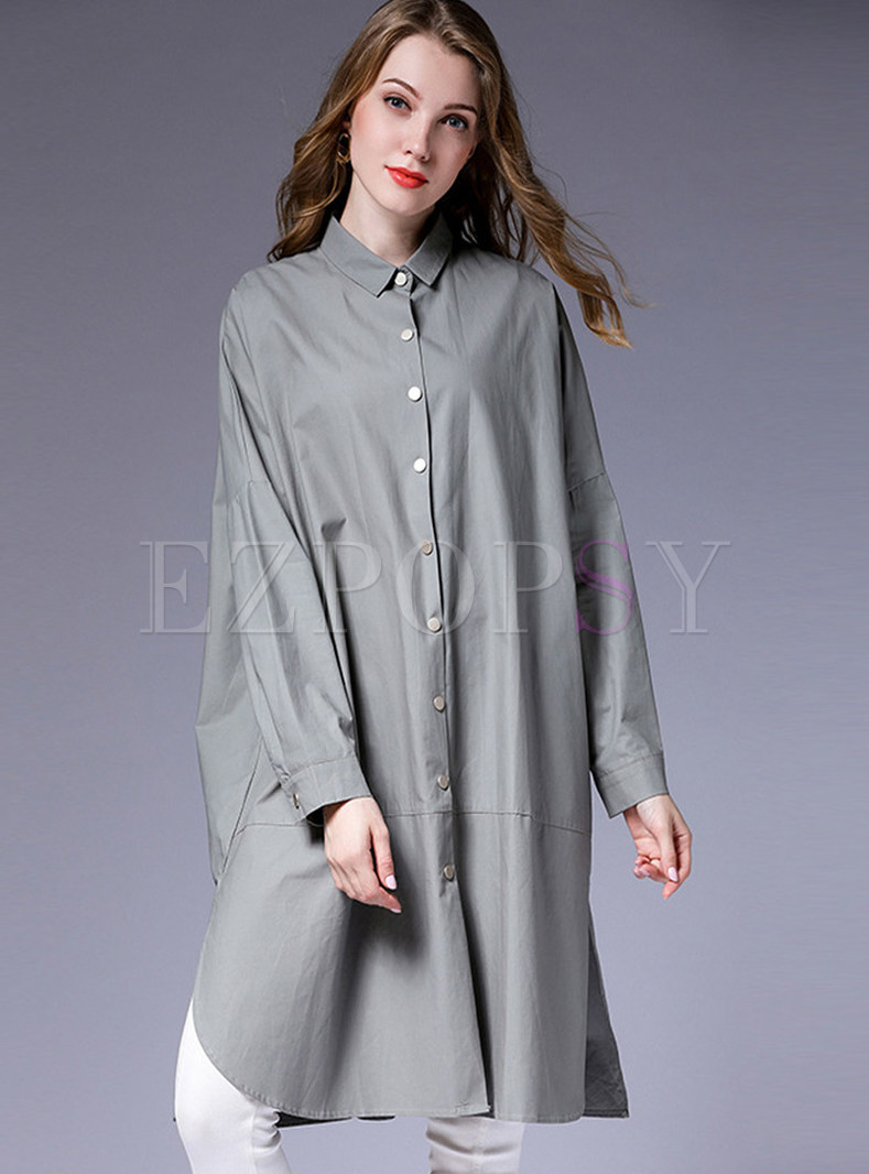 Stylish Lapel Single-breasted Plus Size Loose Trench Coat