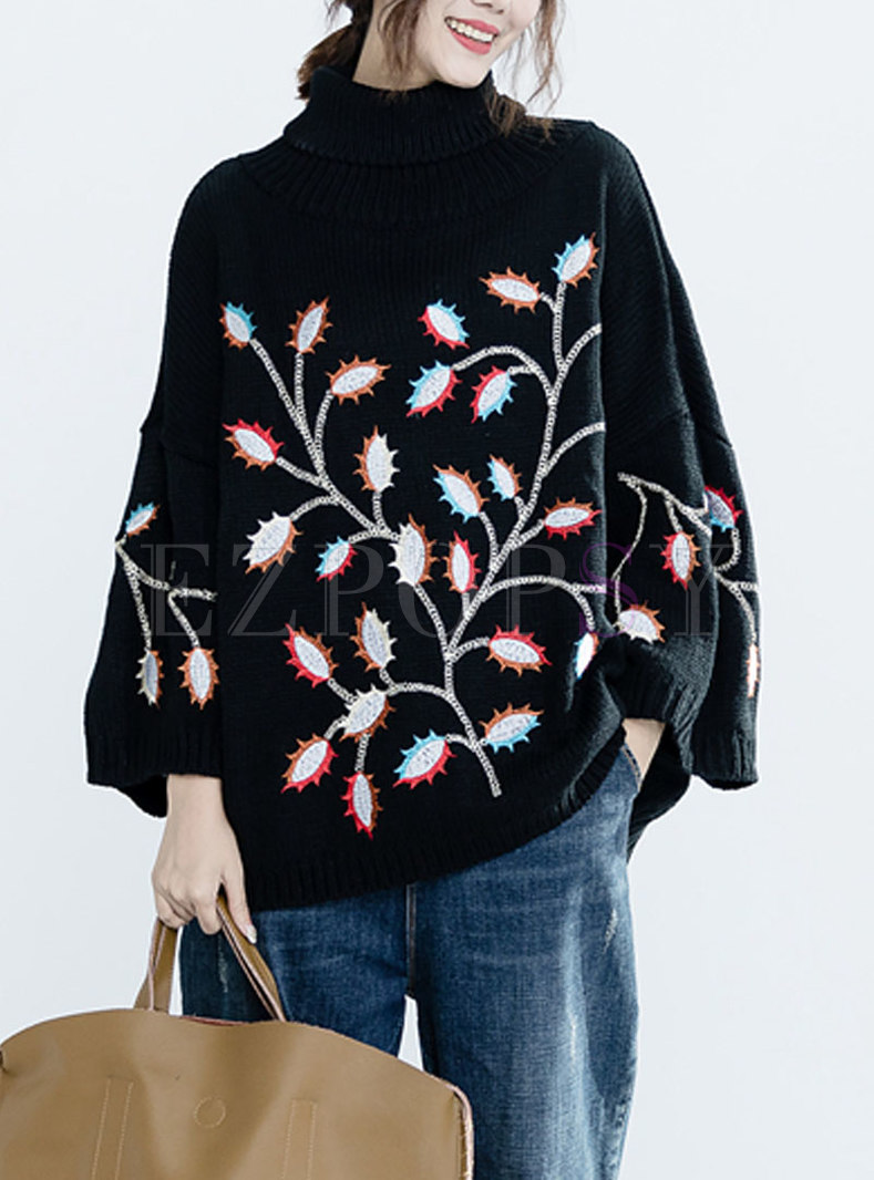 Fashion Black Embroidered Front Plus Size Sweater