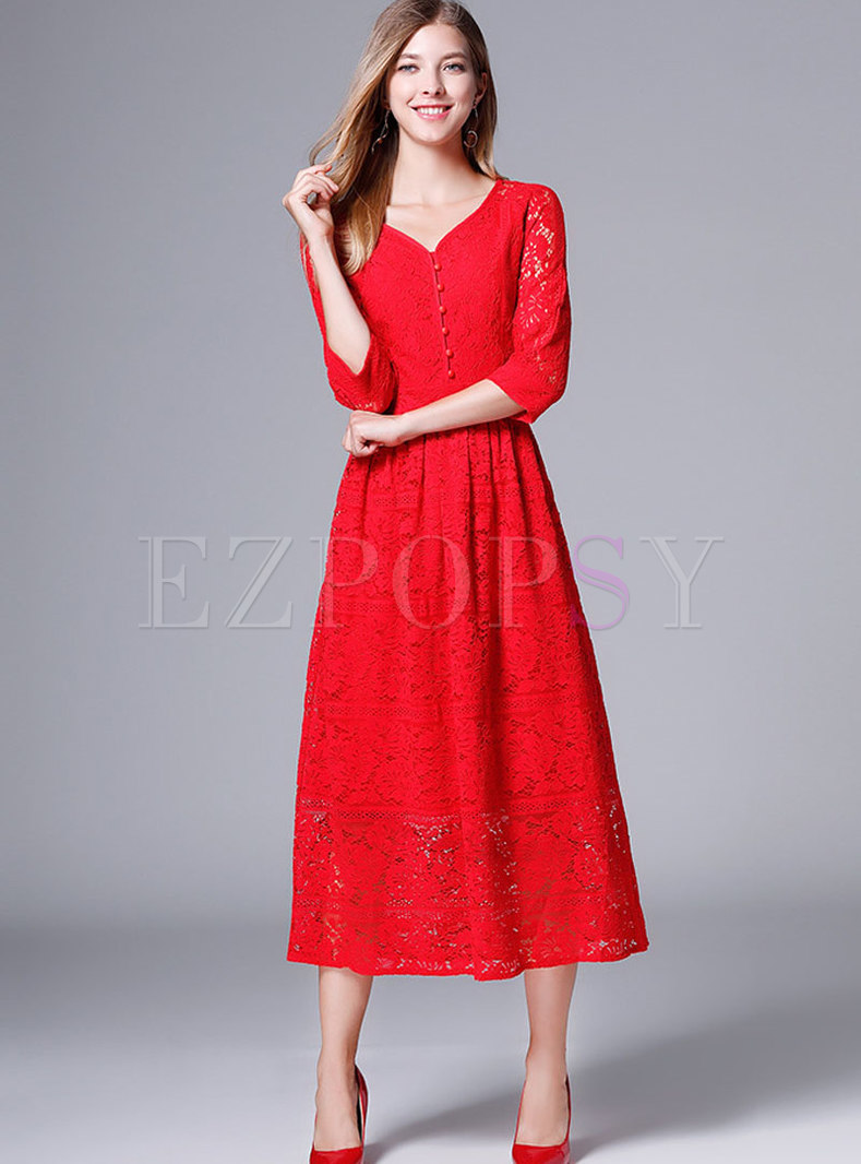 Chic Lace Red V-neck Gathered Waist Slim A Line Dress