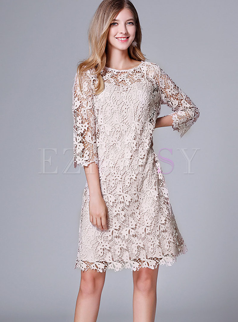 Pure Color O-neck Perspective Slim Lace Dress