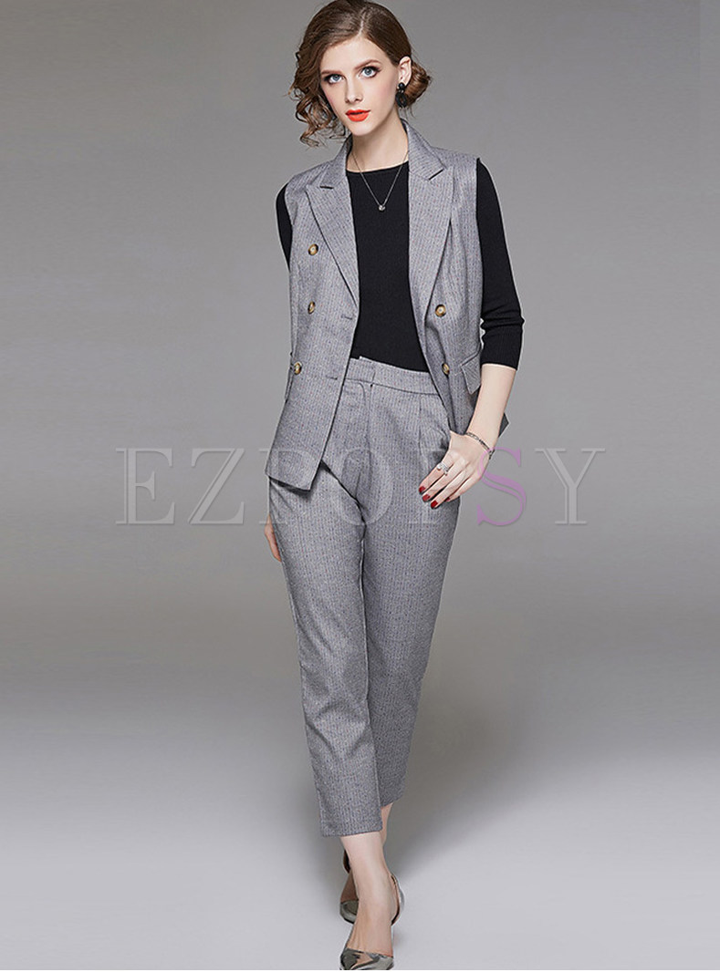 Fashion Notched Double-breasted Slim Two Piece Outfits