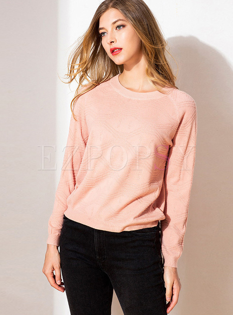 Solid Color O-neck Long Sleeve Straight Sweater