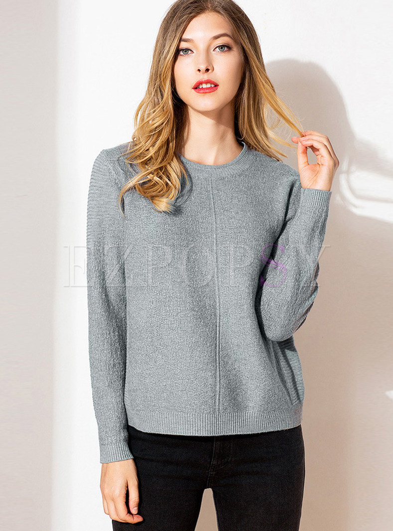 Solid Color Easy-matching O-neck Long Sleeve Sweater