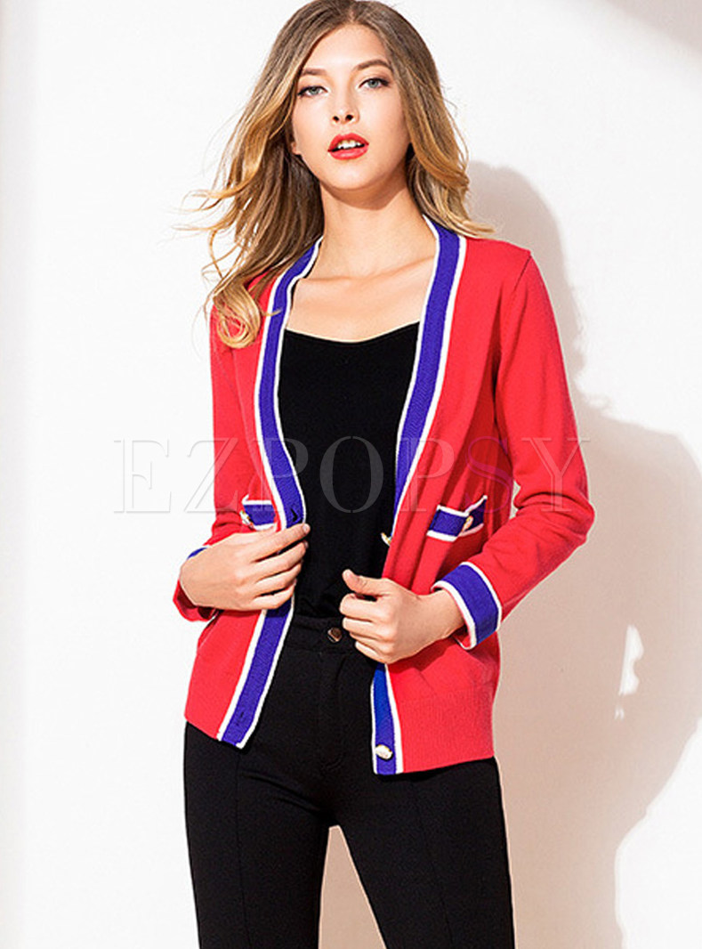 Color-blocked Single-breasted Zip-up Knitted Coat