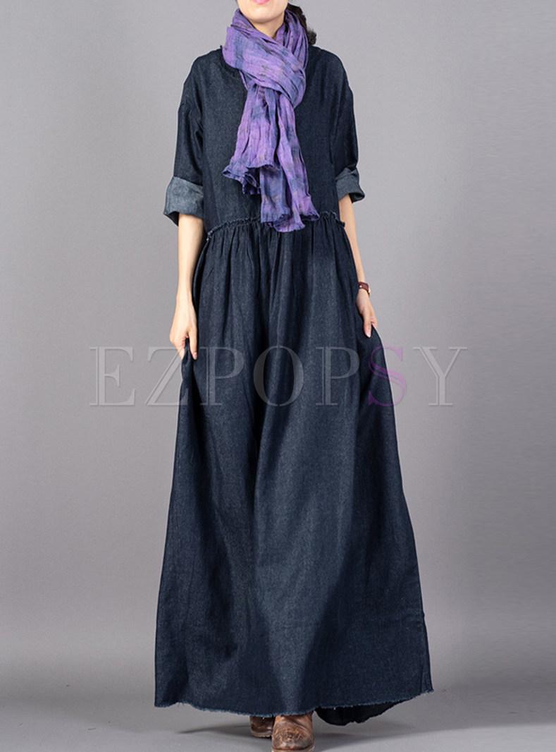 Plus Size O-neck Long Sleeve Denim Maxi Dress