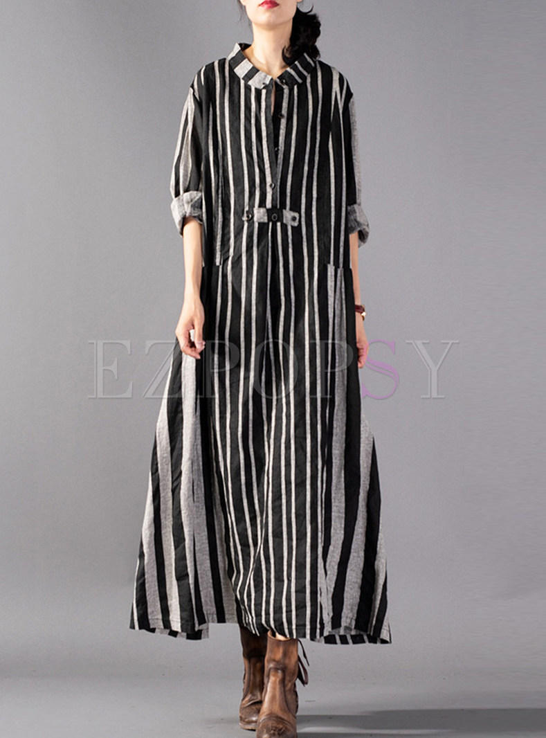O-neck Cotton And Linen Striped Loose Dress