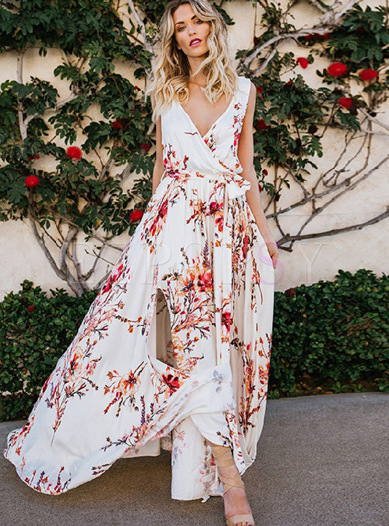 Bohemian V-neck Sleeveless Slit Big Hem Dress
