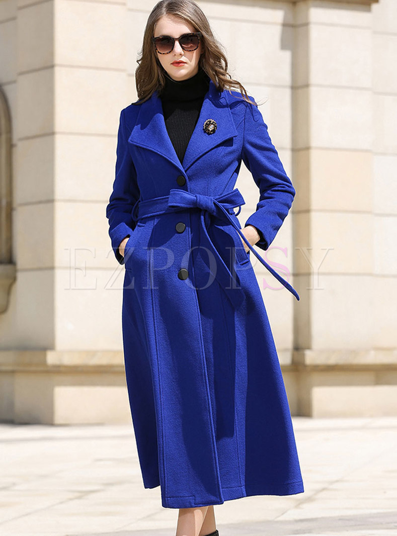 Royal Blue Lapel Slim Single-breasted Hairy Coat