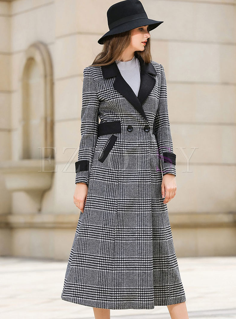 PLaid Double-breasted Belted A Line Long Peacoat