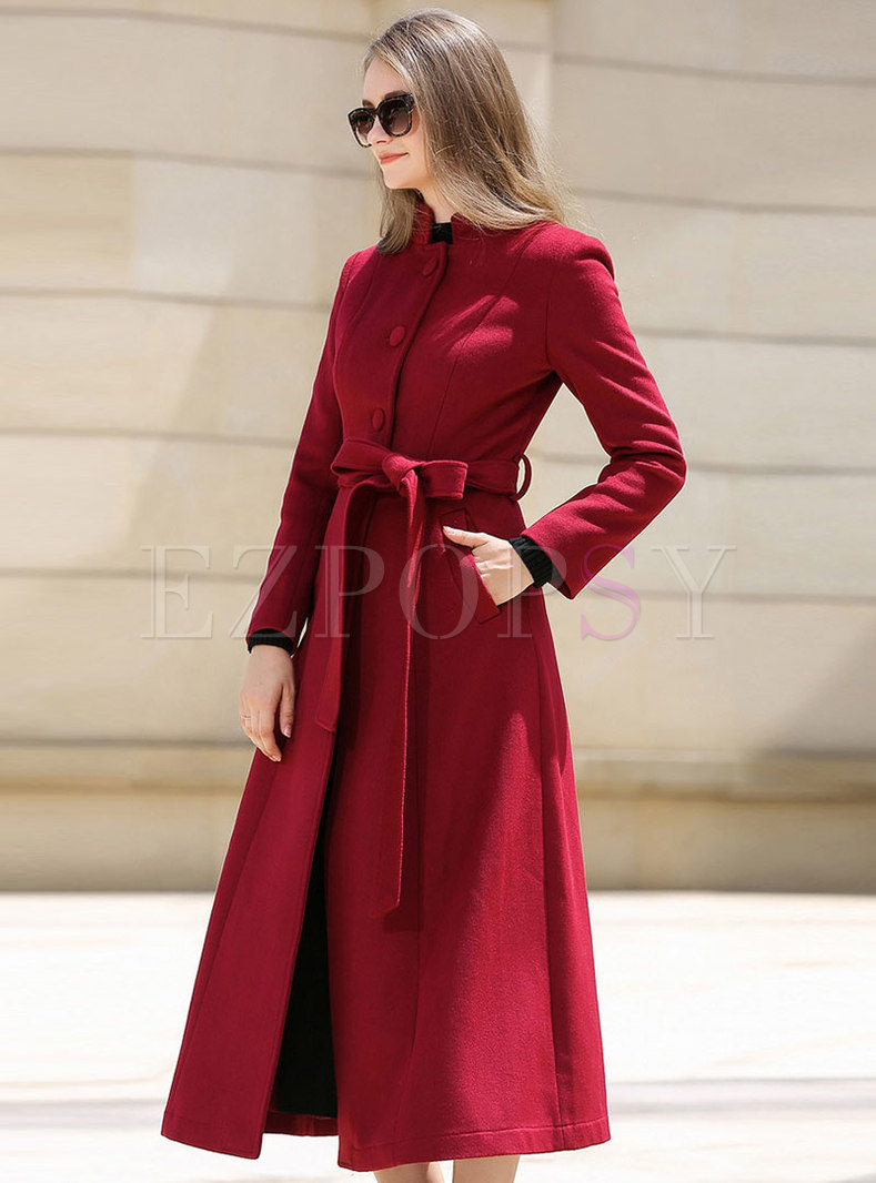 Red Stand Collar Hairy Long Overcoat