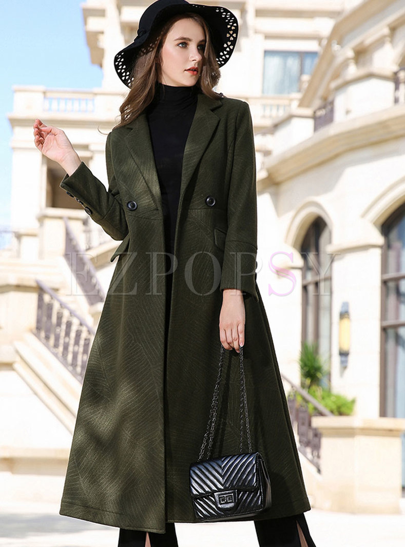 Green Notched Hairy Cashmere Knee-length Peacoat