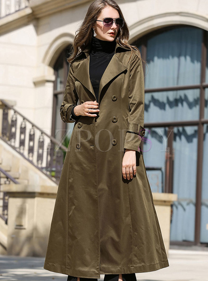 Pure Color Turn Down Collar Gathered Waist Belted Slim Coat