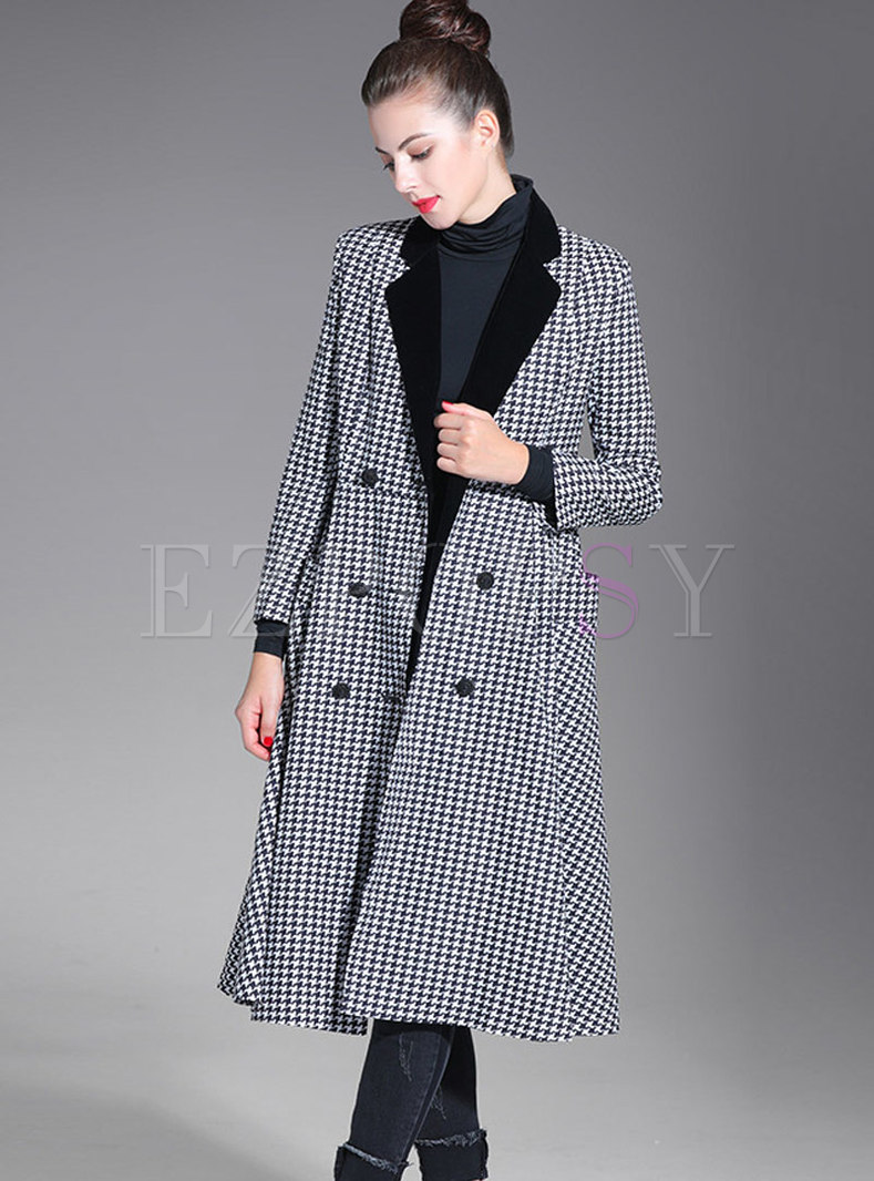 Fashion Color-block Houndstooth Double-breasted Trench Coat