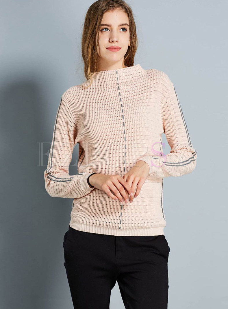 Chic Color-blocked Long Sleeve Short Sweater