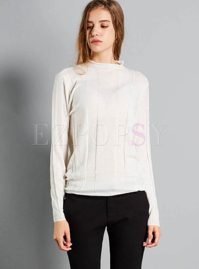 Pure Color Mock Neck Pullover Slim Sweater