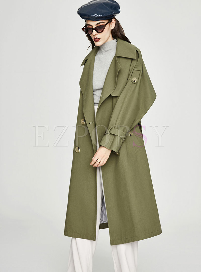 Turn Down Collar Belted Double-breasted Long Trench Coat