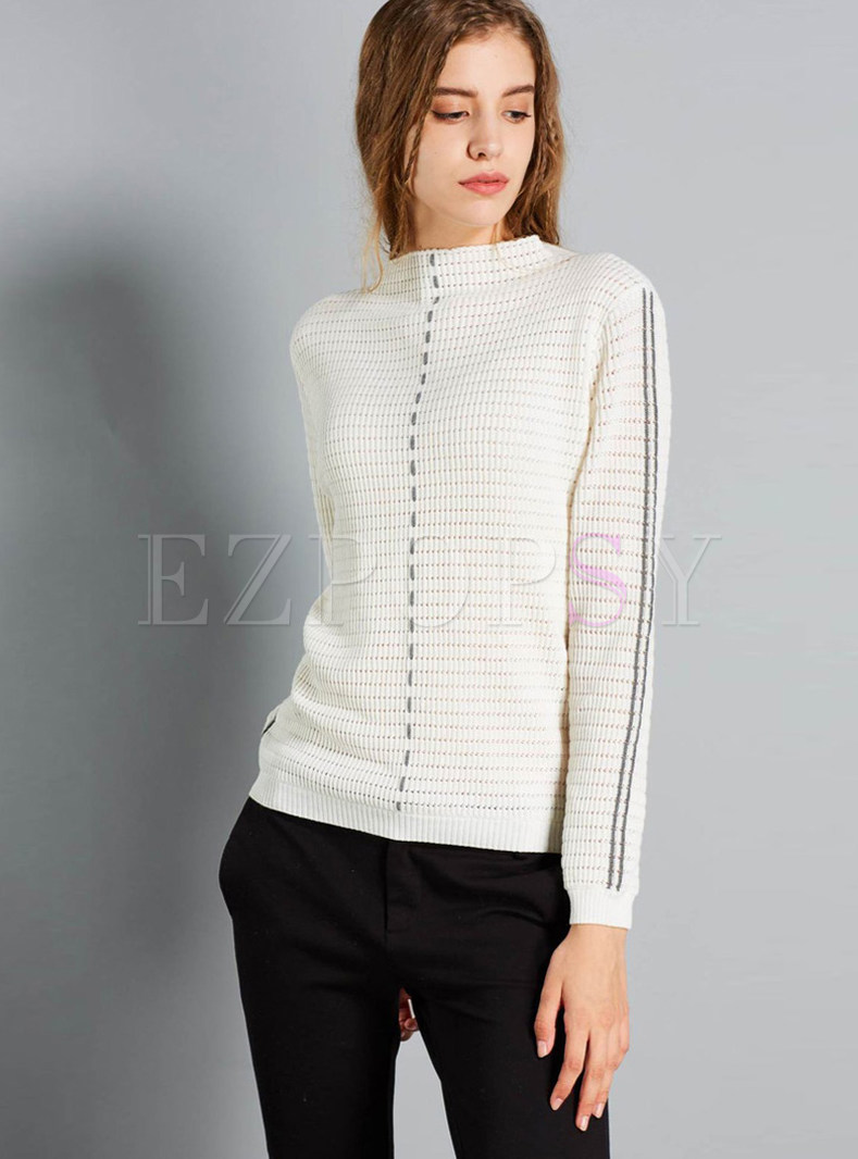 Mock Neck Color-blocked Striped Slim Sweater