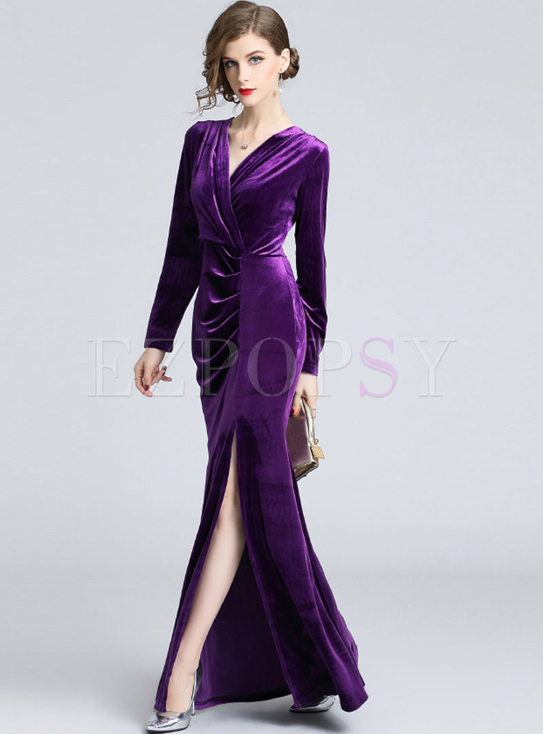 Winter Elegant Purple V-neck Split Sheath Maxi Dress