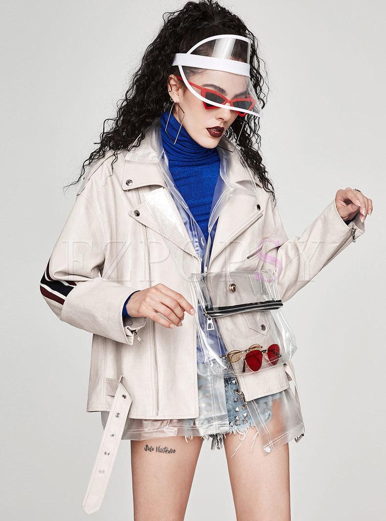 Chic PU Splicing Turn Down Collar Loose Coat