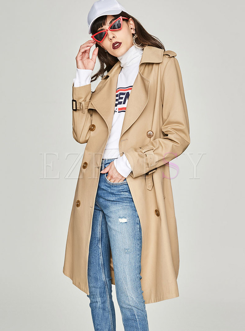 Khaki Turn Down Collar Side-slit Slim Trench Coat