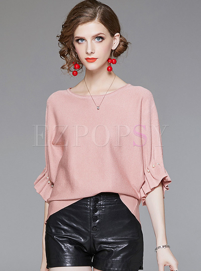 Stylish Pink Batwing Sleeve Beaded Knitted T-Shirt
