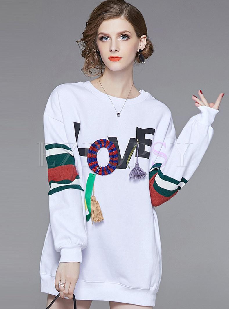 O-neck Long Three-dimensional Tassel Loose Sweatshirt