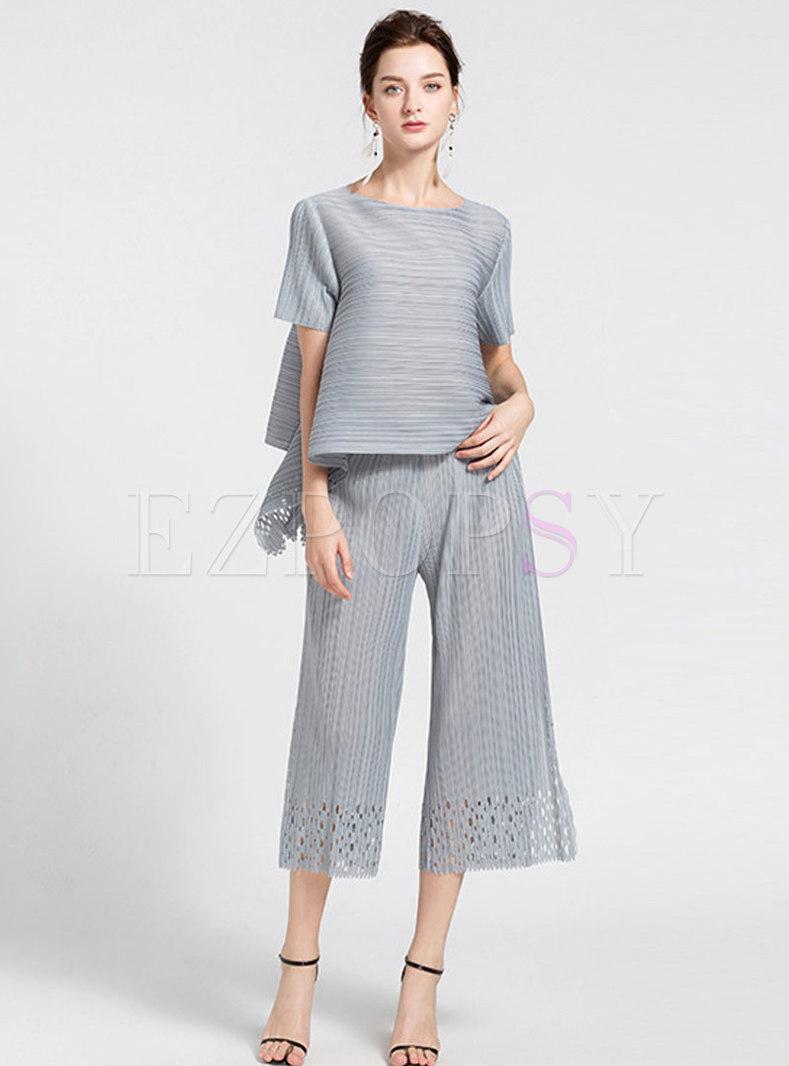 Casual Pure Color Asymmetric T-shirt & Hollow Out Wide Leg Pants