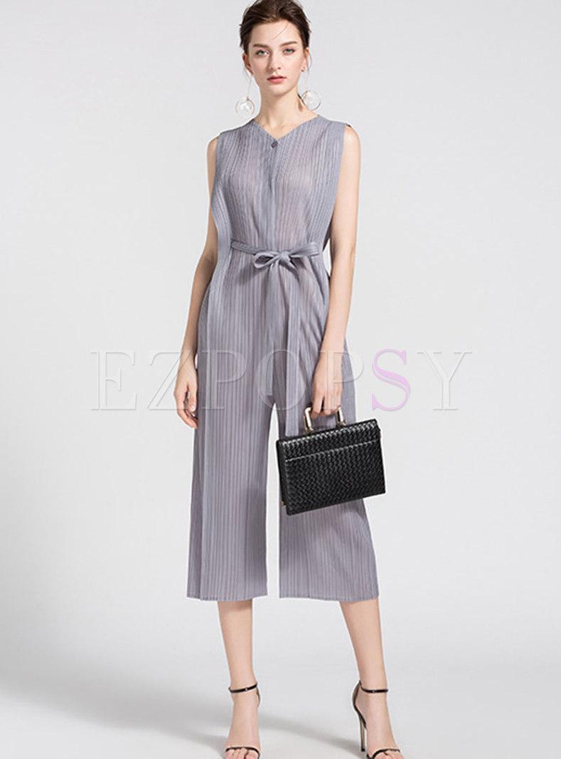 Elegant Solid Color V-neck Belted Wide Leg Jumpsuit