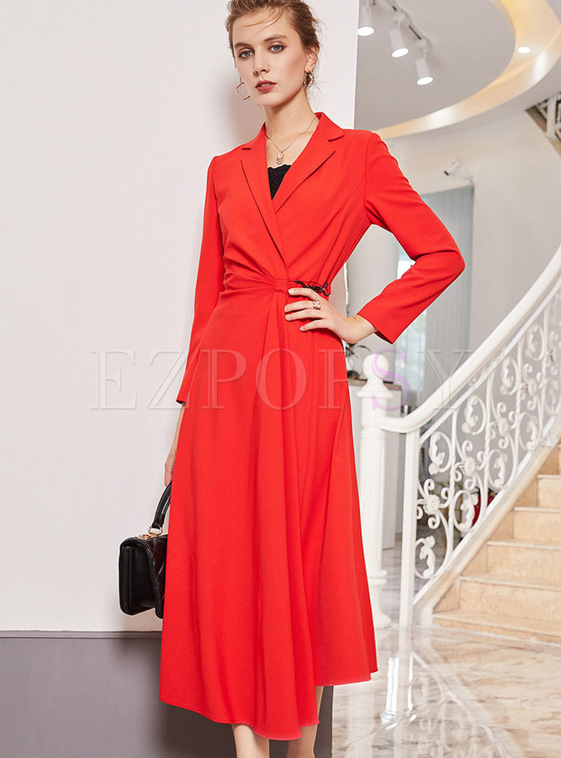 Elegant Red Notched Lapel Asymmetric Hem Coat