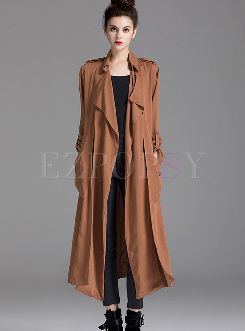 Coffee Stand Collar Long Open Trench Coat
