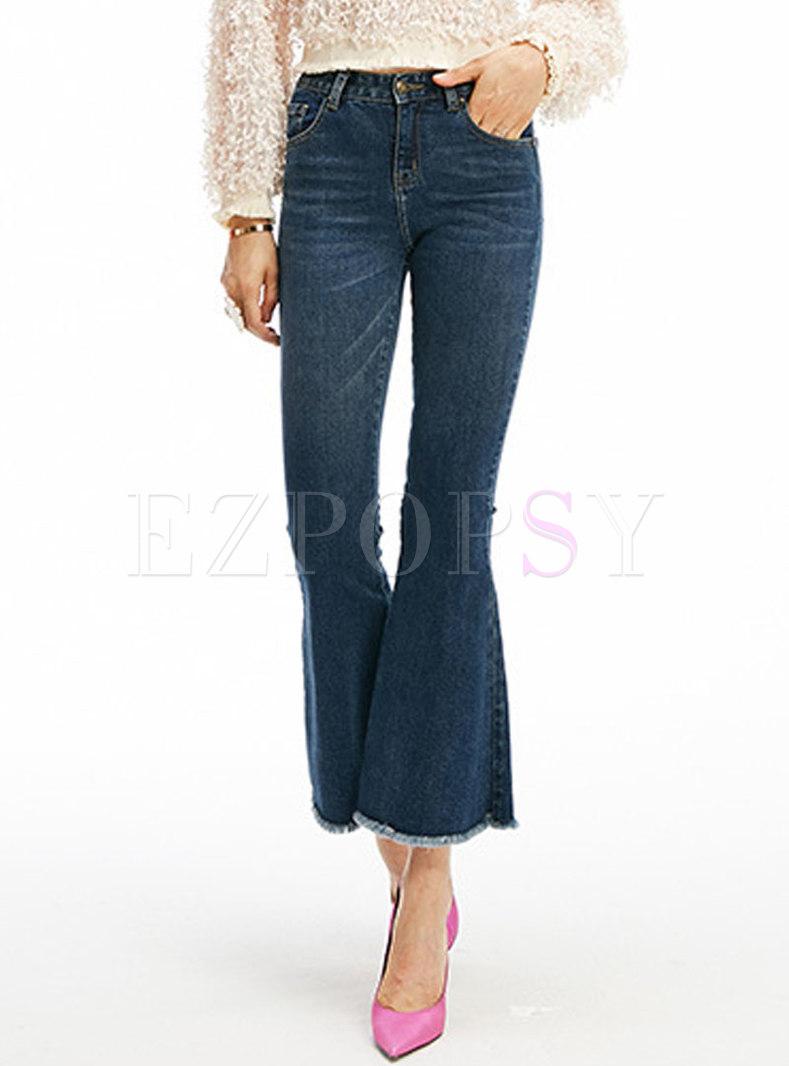 Trendy Denim High Waist Tassel Flare Pants