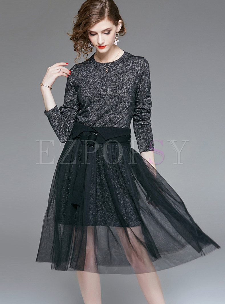 Two Piece Outfits Two Piece Outfits O Neck Long Sleeve Sweater High Waist Mesh Skirt