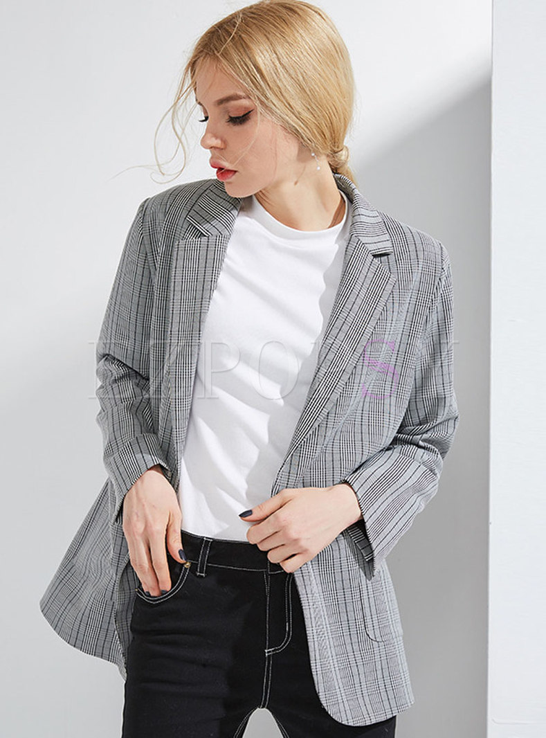 Deep Grey Lapel Loose Office Blazer
