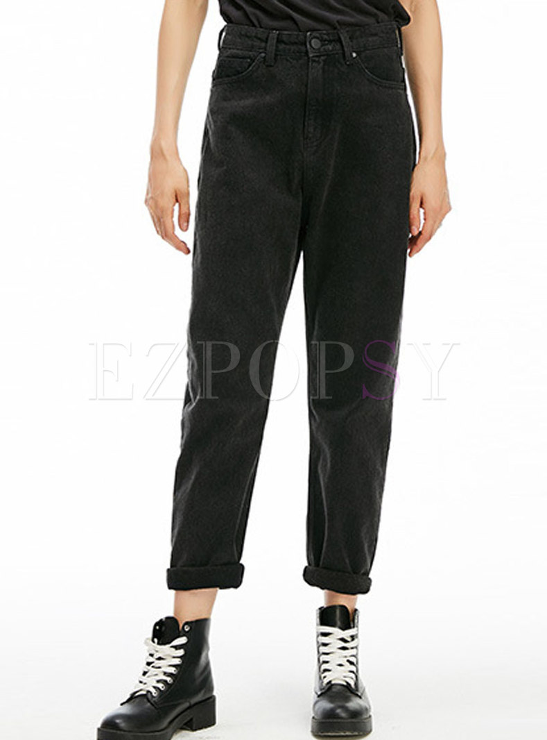 Casual Pure Color High Waist Elastic Straight Pants