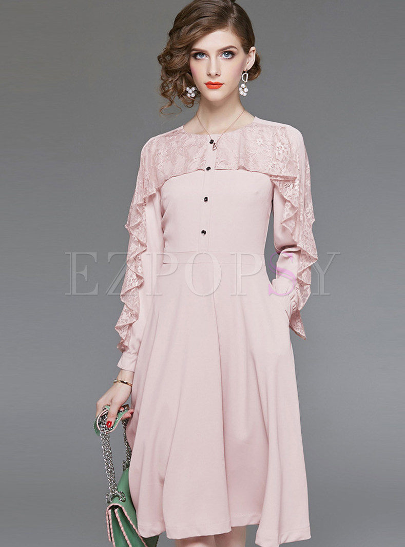 Pink Lace Flouncing Stitching Waist Big Hem Dress