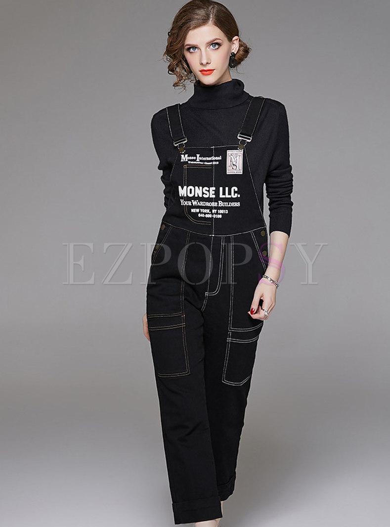 Stylish Black Letter Print Denim Loose Jumpsuit