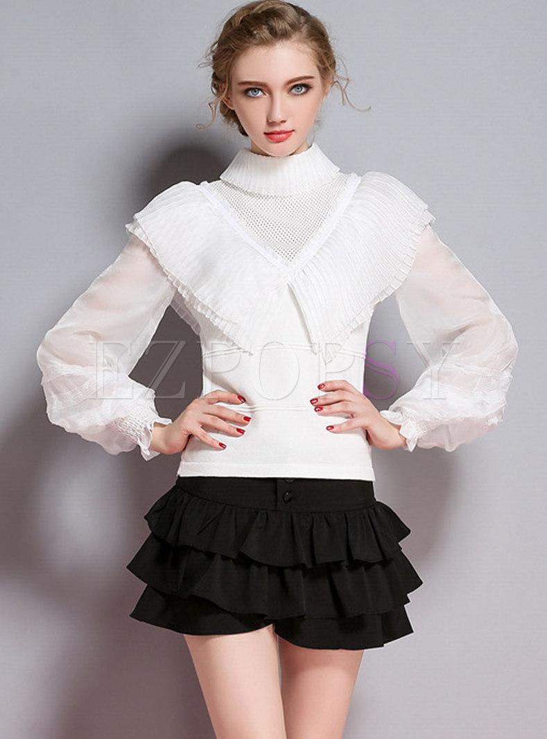 Autumn Chic Turn-down Collar Lantern Sleeve Sweater