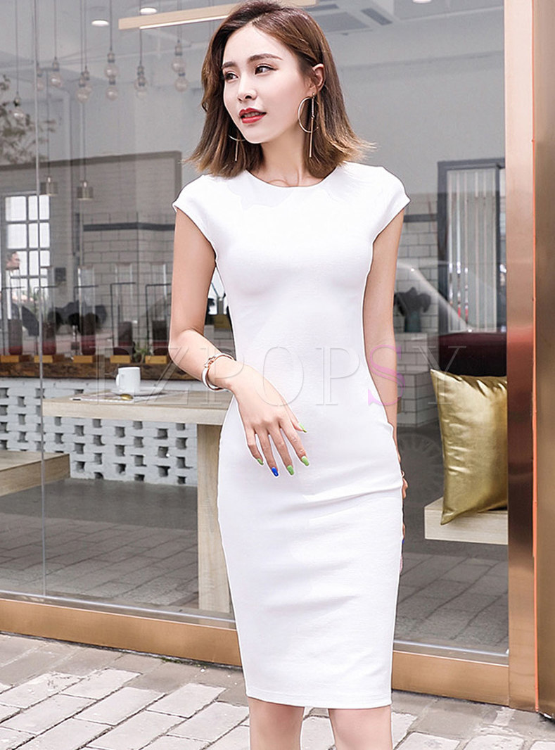 Brief Pure Color Short Sleeve Sheath Dress
